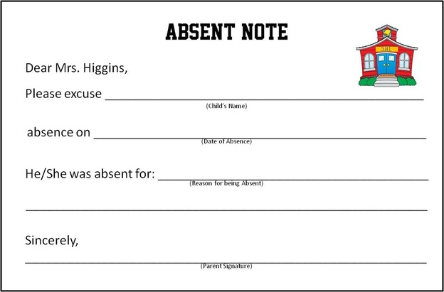 Absent note shi 2nd grade for School absence note template free